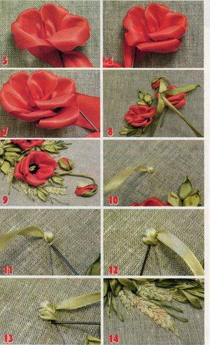 poetapnoe_vyshivanie_kartiny Вышивка роз лентами для начинающих рукодельниц: учимся вышивать лентами по видео мастер-классам