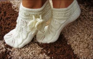 tehnika_vyazaniya Ажурные носки спицами со схемами и подробным объяснением как вязать