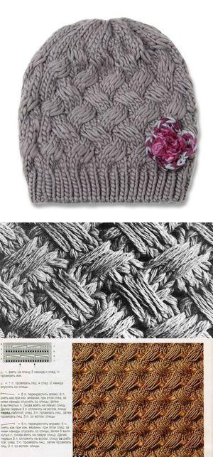 Вязаная шапка плетенка