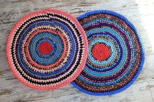 Вязание ковриков крючком для начинающих из тряпок