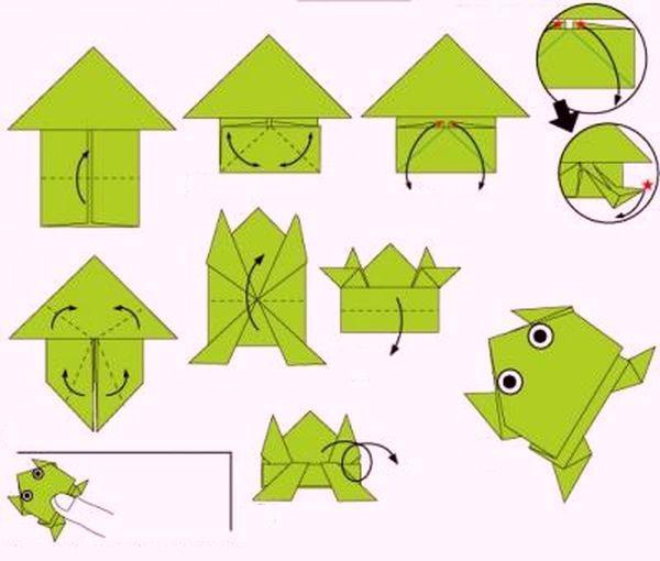 Оригами лягушка. Оригами из бумаги лягушка. Лягушка 26