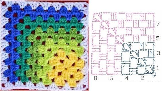Бабушкин квадрат крючком - схемы для начинающих пошагово